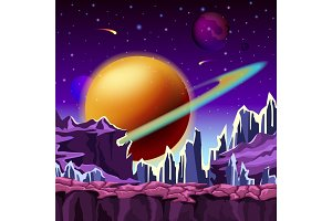 Ice rocks on cartoon planet scenery