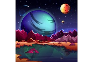 Cartoon planet landscape or scenery terrain