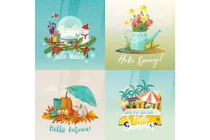 Seasons signs for summer, autumn, spring, winter