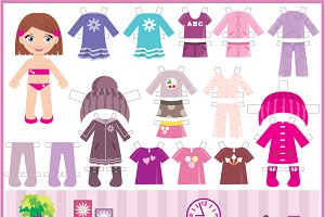Paper doll with a set of clothes and