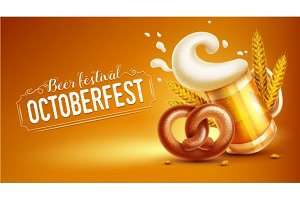 Octoberfest festival banner with beer