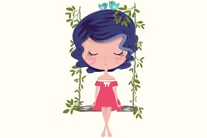 cute girl-swing girl-girl print