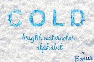 Cold. Bright watercolor alphabet