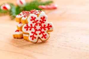 Homemade snowflake Christmas cookies