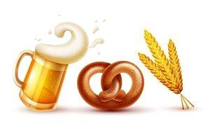 Octoberfest symbols beer pretzel