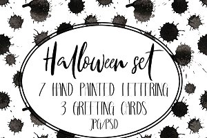 Set of greeting cards for halloween