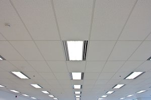 Lights from ceiling of building