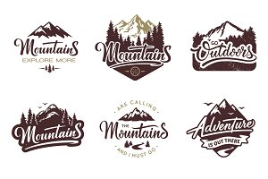 6 Mountain Vintage Badges