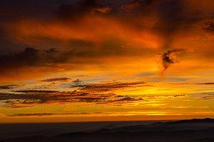 colorful, misty  sunset landscape