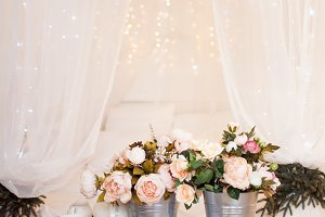 Bouquets of flowers in the bedroom, interior decor, romantic setting