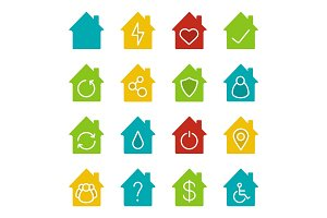 Houses glyph color icon set