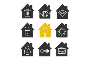 Houses glyph icon set