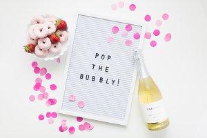 Confetti Letter board + Champagne