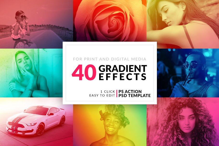 40 Gradient Photoshop Actions ~ Photoshop Add-Ons ~ Creative