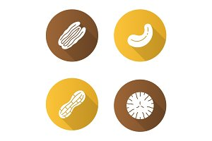 Nuts flat design long shadow glyph icons set