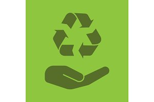 Open hand with recycling sign glyph color icon