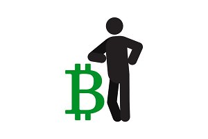 Man lean on bitcoin sign silhouette icon