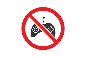 Forbidden sign with gamepad glyph icon