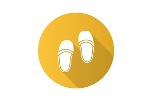 Bedroom slippers flat design long shadow glyph icon