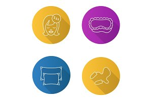 Sleeping accessories flat linear long shadow icons set