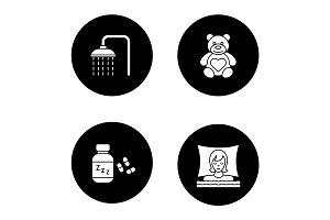 Sleeping accessories glyph icons set
