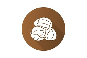 Hazelnuts flat design long shadow glyph icon
