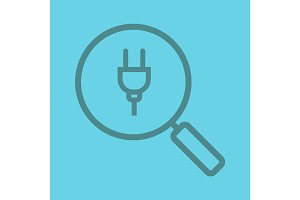 Magnifying glass with plug linear icon