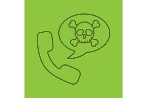 Dangerous phone call linear icon