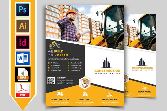 10 construction flyer bundle 90 off flyer templates creative market