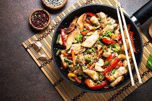 Chicken stir fry with   vegetables.