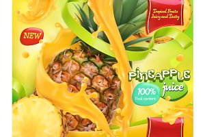 Pineapple juice. Vector