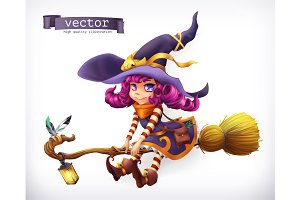 Witch. Happy Halloween, vector