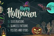Halloween bundle engraving, poster