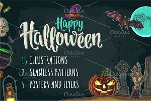 Halloween bundle engraving, poster