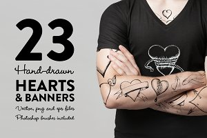 Hand-drawn Hearts & Banners