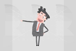 Businessman laughing and pointing