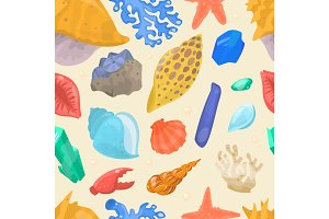 Sea shells and stars marine cartoon clam-shell seamless pattern background vector illustration