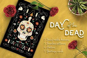 Hand Drawn Day of the Dead Set