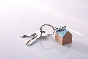 Keys with a house shaped keyring