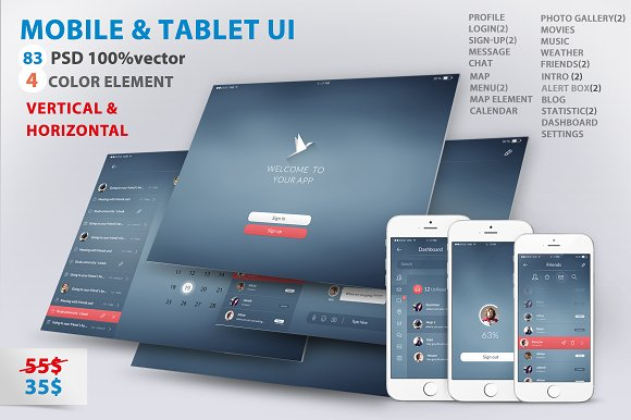 Mobile and Tablet UX UI kit-Graphicriver中文最全的素材分享平台