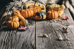 Pumpkins or gourds.
