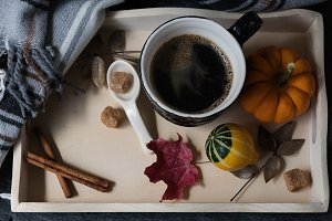 Coffee, autumn, blanket
