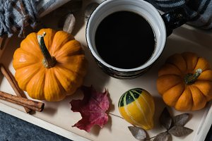 Coffee, pumpkins, fall