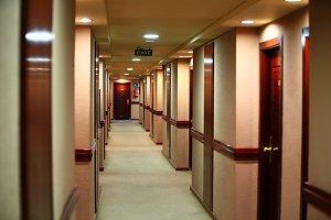 Empty corridor of modern hotel