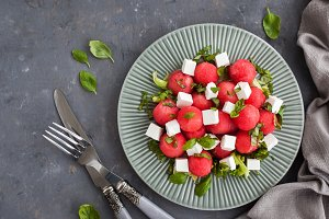 Salad with watermelon and feta