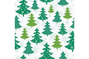 Vector green and white scattered christmas trees winter holiday seamless pattern. Great for fabric, wallpaper, packaging, giftwrap.