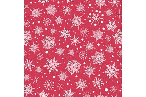 Vector pink red hand drawn christmass snowflakes repeat seamless pattern background. Can be used for fabric, wallpaper, stationery, packaging.