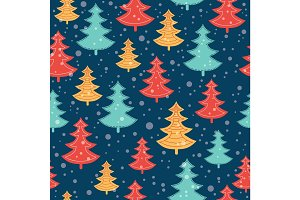 Vector blue, red, and yellow scattered christmas trees winter holiday seamless pattern on dark blue background. Great for fabric, wallpaper, packaging, giftwrap.