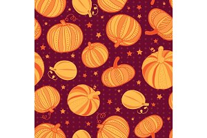 Vector orange dark red pumpkins polka dots seamless repeat pattern background. Great for fall themed designs, invitation, fabric, packaging projects.
