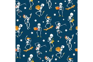 Vector blue, white, orange dancing and skateboarding skeletons Haloween repeat pattern background. Great for spooky fun party themed fabric, gifts, giftwrap.